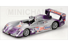 Minichamps 400041328 Audi R8 #28 Audi Sport UK Team Veloqx 'Frank Biela - Allan McNish - Pierre Kaffer' winner 12 hrs of Sebring 2004