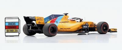 Spark Model S6069 McLaren MCL33 McLaren F1 Team #14 'Fernando Alonso' 11th pl Abu Dhabi GP 2018 (Last Race - Special Package with tire marks)