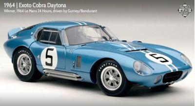 Exoto RLG18001 Shelby Cobra Daytona Coupe #5 'Dan Gurney - Bob Bondurant' 1st pl GT 5 cl 4th pl oa. Le Mans 1964