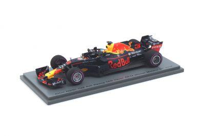 Spark Model S6064 Aston Martin Red Bull Racing-TAG Heuer RB14 #3 'Daniel Ricciardo' Winner Monaco GP 2018 - Red Bull Racing's 250th Race